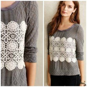 Anthropologie MeadowRue Gray Knit Lace Overlay Top
